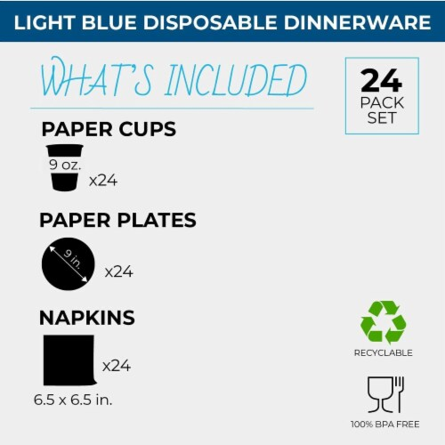 Turquoise Party Supplies, Paper Plates, Cups, and Napkins (Serves 24, 72 Pieces) Perspective: back