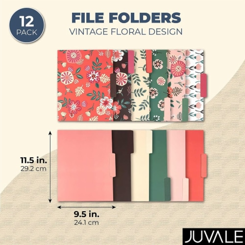 Decorative File Folders with Floral Designs, Letter Size (9.5 x 11.5 In, 12 Pack) Perspective: back