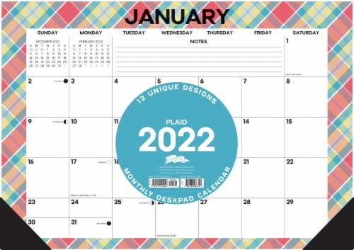 Plaid Patterns 17  x 12  Monthly Deskpad Calendar Perspective: back