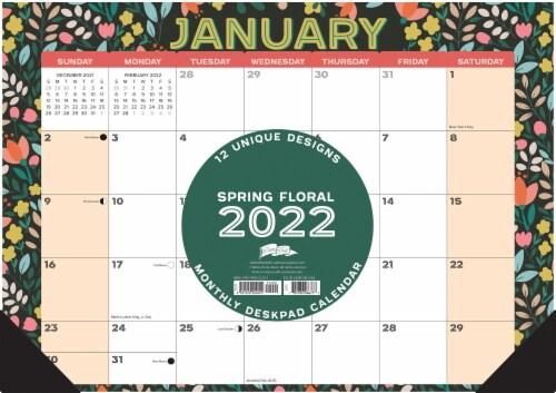 Spring Floral 17  x 12  Monthly Deskpad Calendar Perspective: back
