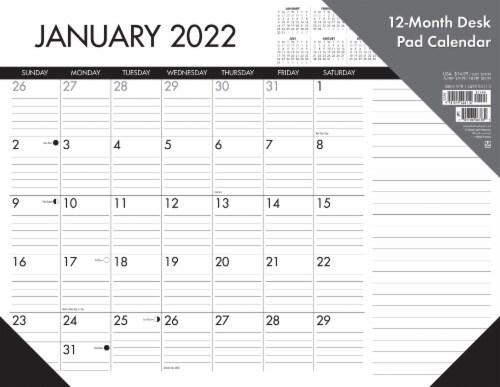 Black & White 22  x 17  Large Monthly Deskpad Calendar Perspective: back