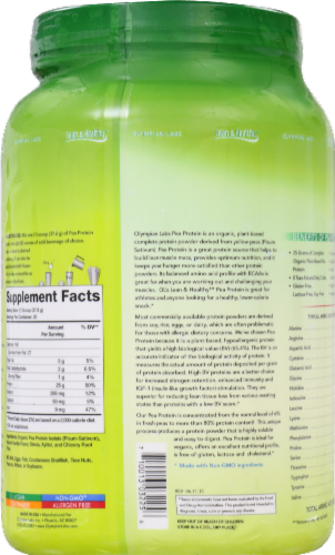 Olympian Labs Vanilla Pea Protein Perspective: back