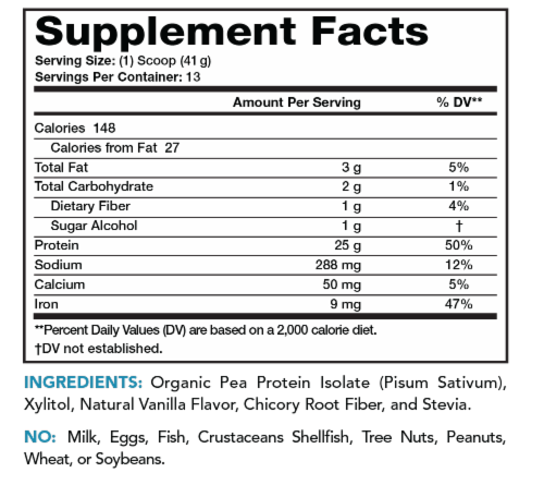 Lean & Pure Vanilla Plant Protein Dietary Supplement Perspective: back