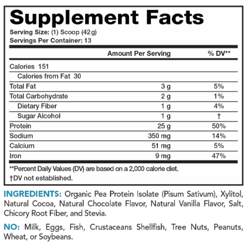 Lean & Pure Chocolate Plant Protein Dietary Supplement Perspective: back