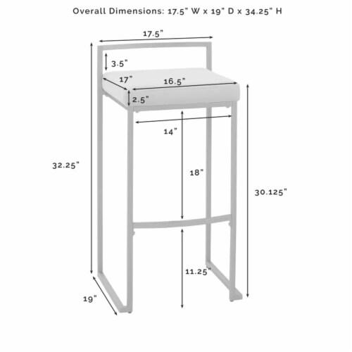 Crosley Furniture Harlowe Modern Steel Framed Velvet Bar Stools, Gray (Set of 2) Perspective: back