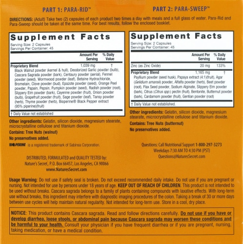 Nature's Secret Parastroy Cleanse & Sweep the Intestinal Tract Dietary Supplement Perspective: back