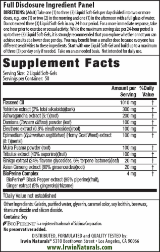 Irwin Naturals Advanced Yohimbe-Plus Dietary Supplement Liquid Soft Gels Perspective: back