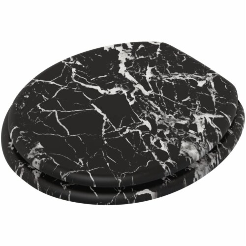 Sanilo 251 Round Soft Close Molded Wood Adjustable Toilet Seat, Marble Black Perspective: back