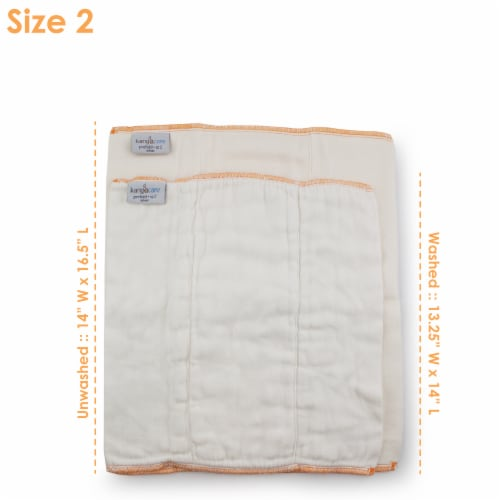Kanga Care Bamboo Prefold Cloth Diapers (6pk) - Size 2 : Infant Perspective: back