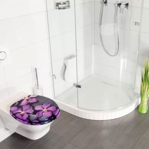 Sanilo 108 Round Soft Close Molded Wood Adjustable Toilet Seat, Vanda Orchids Perspective: back