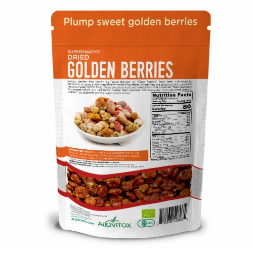 Certified Organic Sun Dried Golden Berries 8 oz | Raw, Vegan, Gluten Free Super Snack Perspective: back
