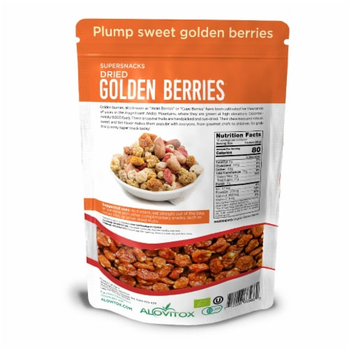 Certified Organic Sun Dried Golden Berries 16 oz | Raw, Vegan, Gluten Free Super Snack Perspective: back
