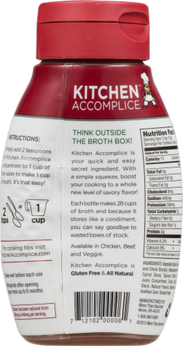 Kitchen Accomplice Reduced Sodium Veggie Broth Concentrate Perspective: back