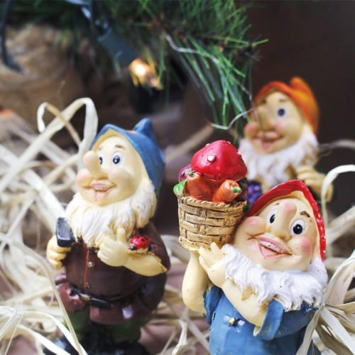 "Juvale 6 Pcs Happy Mini Gnome Figurines Accessories Set for Fairy Gardens, 4"" Perspective: back"