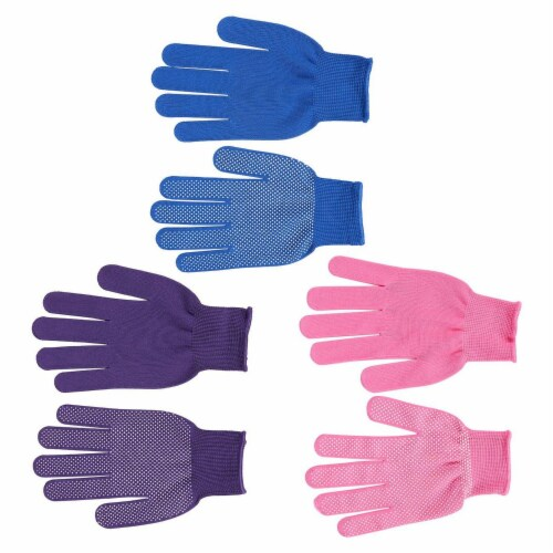 Women's Polyester Work Gloves, Garden Gloves (3 Colors, 6 Pairs) Perspective: back