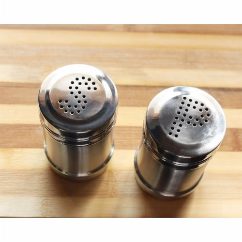 Stainless Steel Salt and Pepper Shakers for Kitchen - 3.5 Inch Perspective: back