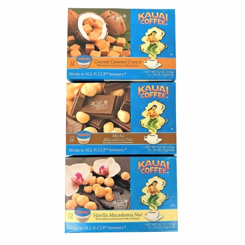 Kauai Coffee Flavored Variety Pack, 36 Single Serve Pods Total Perspective: back
