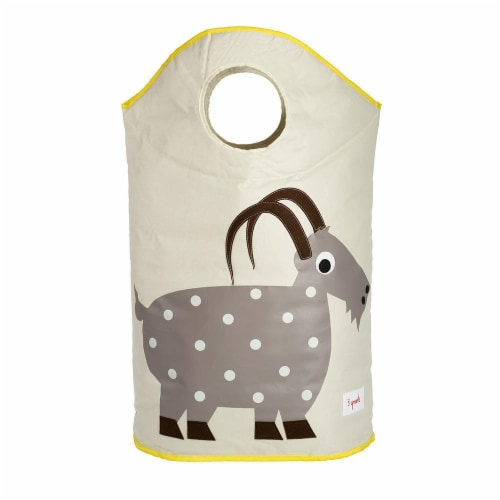 3 Sprouts Baby Laundry Hamper Storage Basket Organizer Bin for Nursery Clothes, Goat Perspective: back