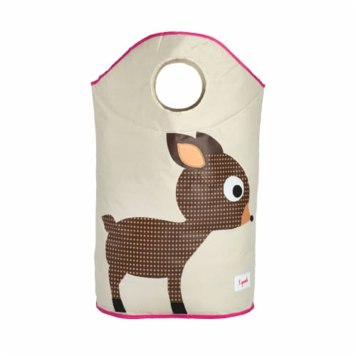 3 Sprouts Baby Laundry Hamper Storage Basket Organizer Bin for Nursery Clothes, Deer Perspective: back