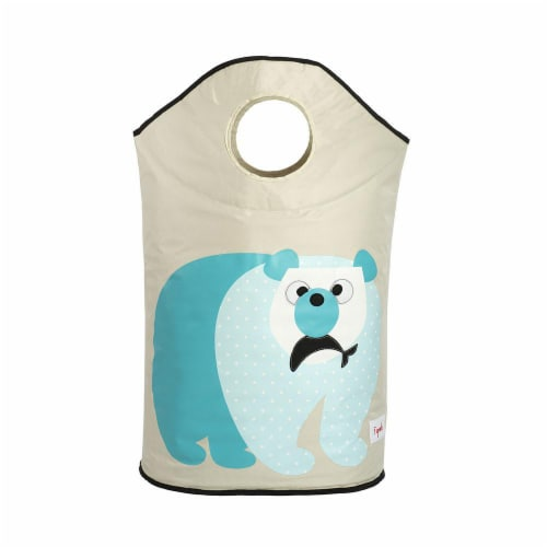 3 Sprouts Baby Laundry Hamper Storage Basket Organizer Bin for Nursery Clothes, Polar Bear Perspective: back