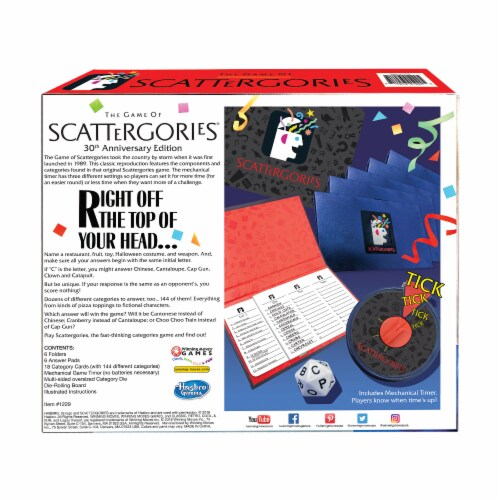 Winning Moves Games The Game of Scattergories 30th Anniversary Edition Board Game Perspective: back