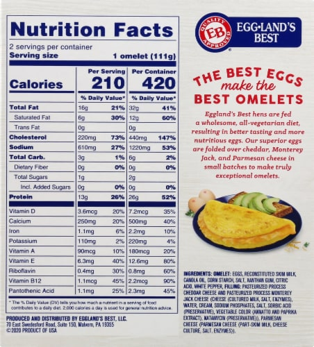 Eggland's Best® Three Cheese Fully Cooked Omelets Perspective: back