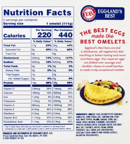Eggland's® Best Sausage & Cheese Fully Cooked Omelets Perspective: back