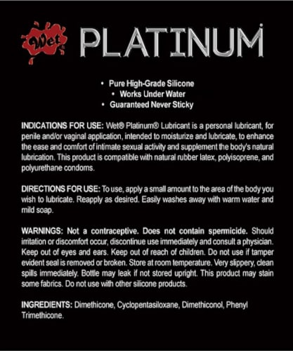 Wet Platinum Luxury Silicone Lubricant Perspective: back