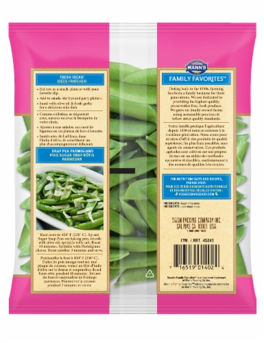 Mann's Family Favorites Stringless Sugar Snap Peas Perspective: back
