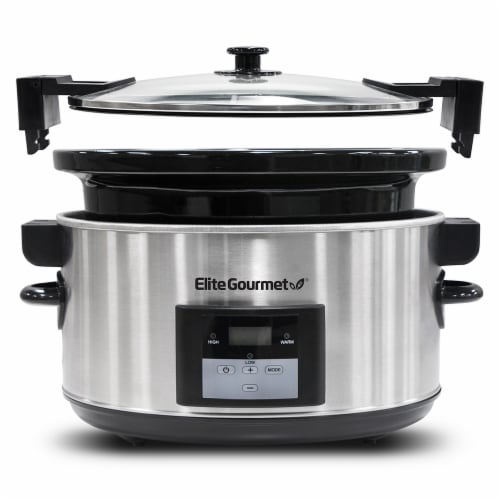 Elite Gourmet Stainless Steel Slow Cooker - Silver Perspective: back