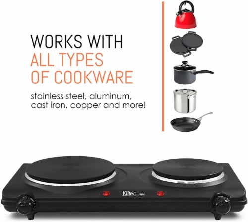 Elite by Maxi-Matic Double Electric Cast Iron Burner Perspective: back
