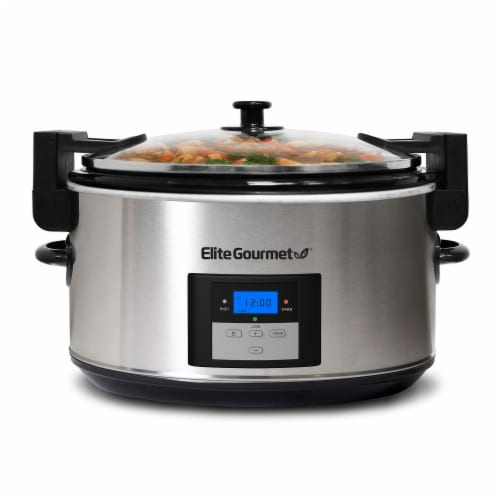 Elite Gourmet Stainless Steel Programmable Slow Cooker Perspective: back
