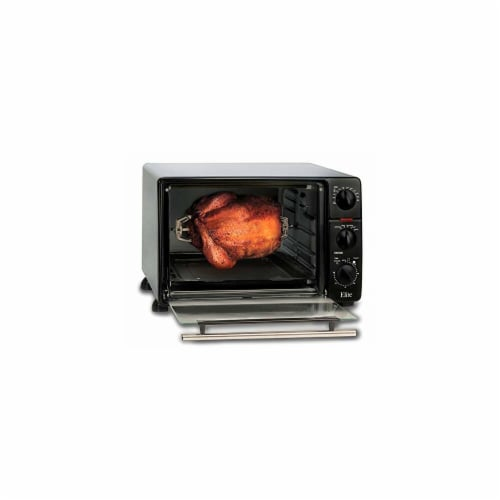 Elite Gourmet Toaster Oven Broiler with Rotisserie - Silver/Black Perspective: back