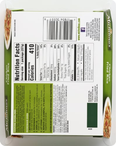 Michelina's Chicken Fried Rice Frozen Meal Perspective: back