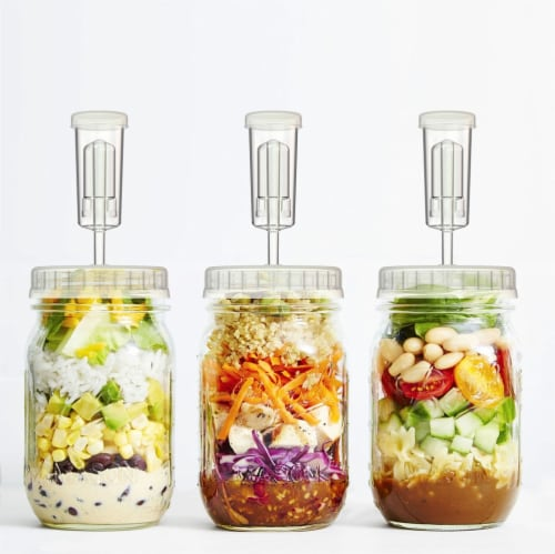 Clear Fermentation Lids | 4-Pack | for Making Sauerkraut in Wide Mouth Mason Jars Perspective: back