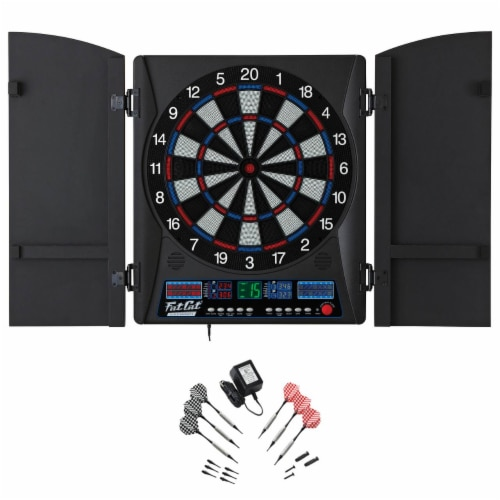 Fat Cat Electronx 13.5 Inch Electronic Soft Tip Classic Dartboard Game Cabinet Perspective: back