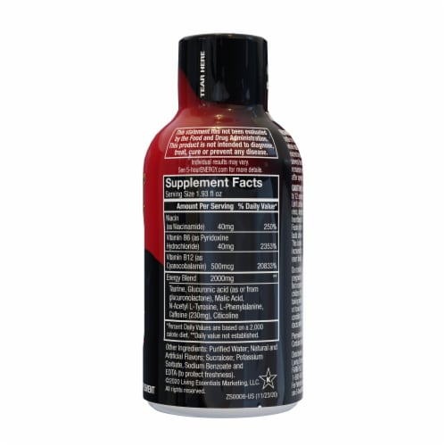 5-Hour Energy® Extra Strength Berry Dietary Supplement Perspective: back