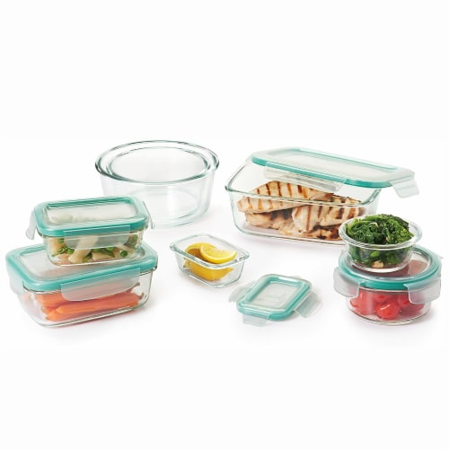 OXO Good Grips 16 Piece Glass Food Storage Round Square Container Set with Lids Perspective: back