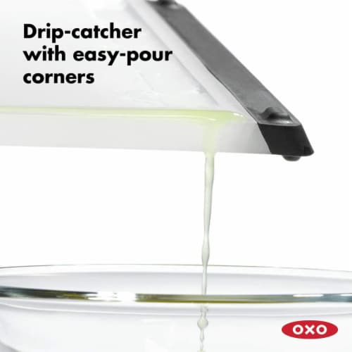 OXO Good Grips Non Slip Kitchen Double Sided Carving and Cutting Board, Clear Perspective: back