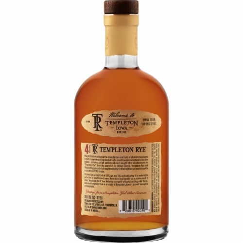 Templeton Rye Small Batch Rye Whiskey Perspective: back