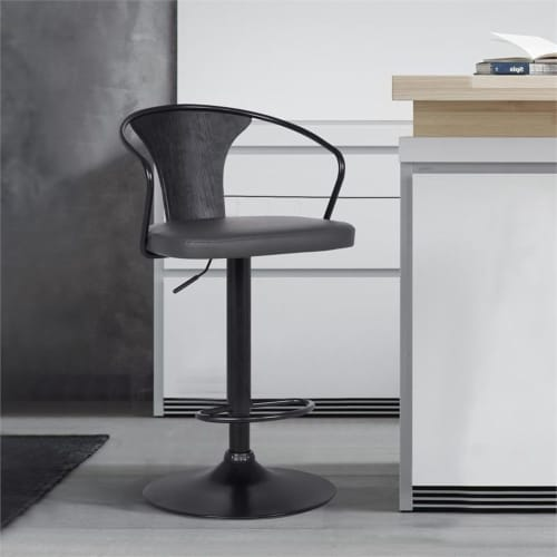 Armen Living Eagle 32 H Faux Leather Adjustable Bar Stool in Black and Gray Perspective: back