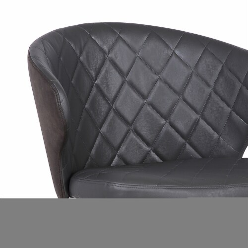 Armen Living Ava Faux Leather Dining Arm Chair in Gray and Black Perspective: back
