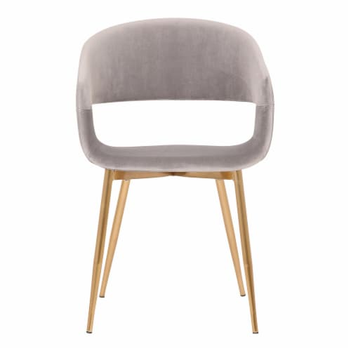 Jocelyn Mid-Century Grey Dining Accent Chair with Gold Metal Legs Perspective: back