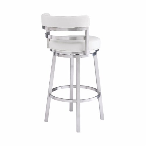 Madrid 26  Counter Height Barstool in Brushed Stainless Steel Finish and White Faux Leather Perspective: back