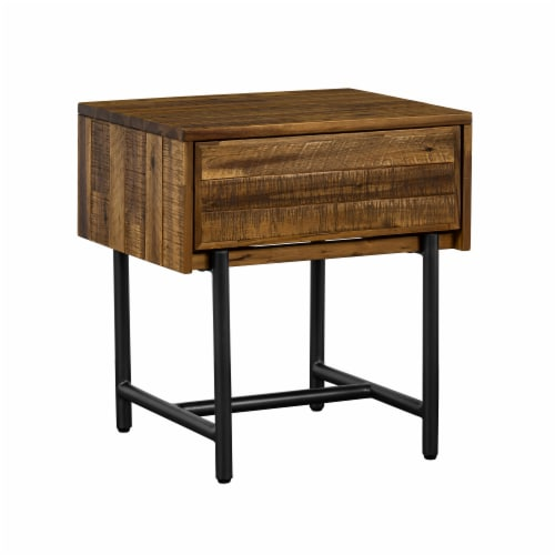 Cusco Rustic Acacia Single Drawer Night stand Perspective: back