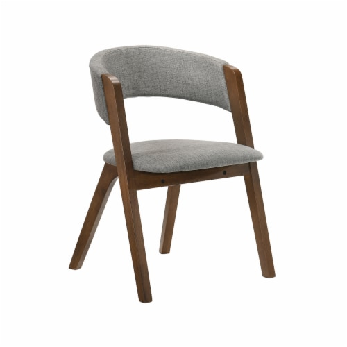 Rowan Grey Upholstered Dining Chairs in Walnut Finish - Set of 2 Perspective: back