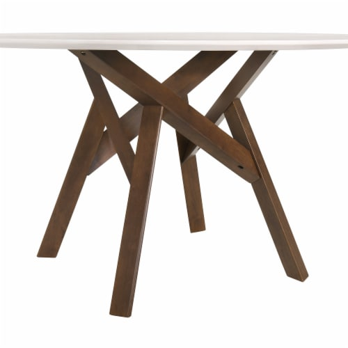 Venus 54  Round Mid-Century Modern White Marble Dining Table with Walnut Wood Legs Perspective: back