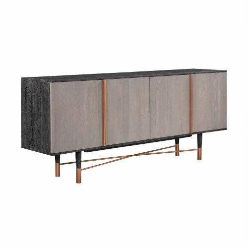 Turin Rustic Oak Wood Sideboard Cabinet with Copper Accent Perspective: back