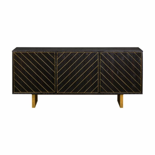 Monaco Rectangular Black Wood Sideboard with Antique Brass Accent Perspective: back