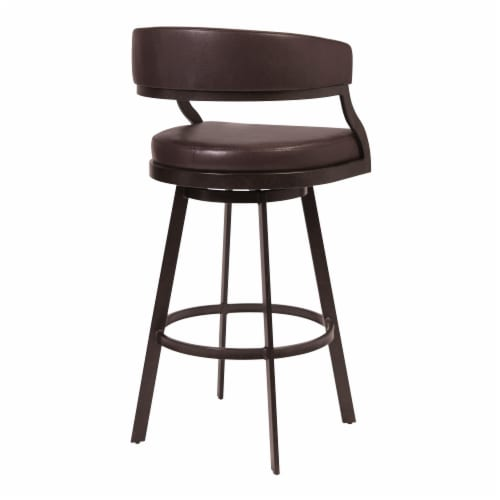 Dione 30  Bar Height Barstool in Auburn Bay and Brown Faux Leather Perspective: back